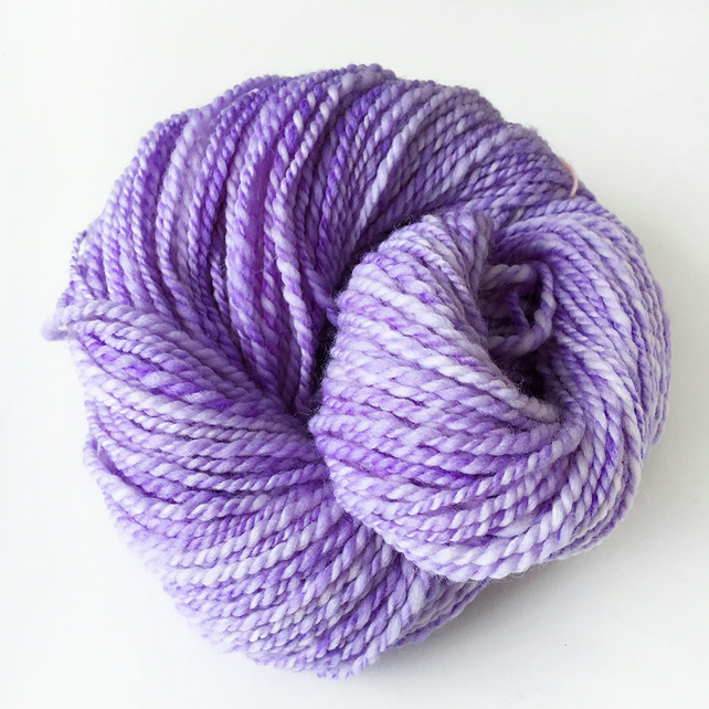 Lavender - Handspun Hand Dyed Superwash Merino Yarn