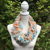 Pastel Sunset Hand Knitted Art Yarn Loop Scarf