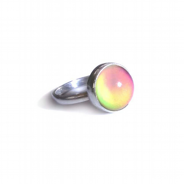 Mood Ring, sterling Silver, Round 12mm Mood Stone