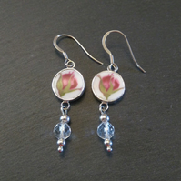 Red Rosebud Dangle China Earrings
