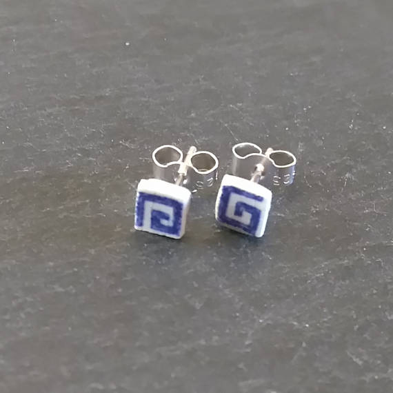 Small Square Blue Stud Earrings
