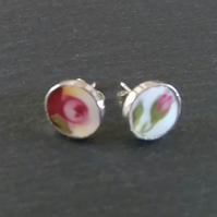 Mismatched Rosebud Stud Broken China Earrings