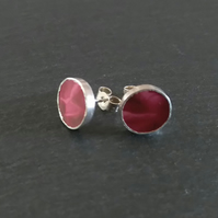 Deep Red Stud Broken China Earrings