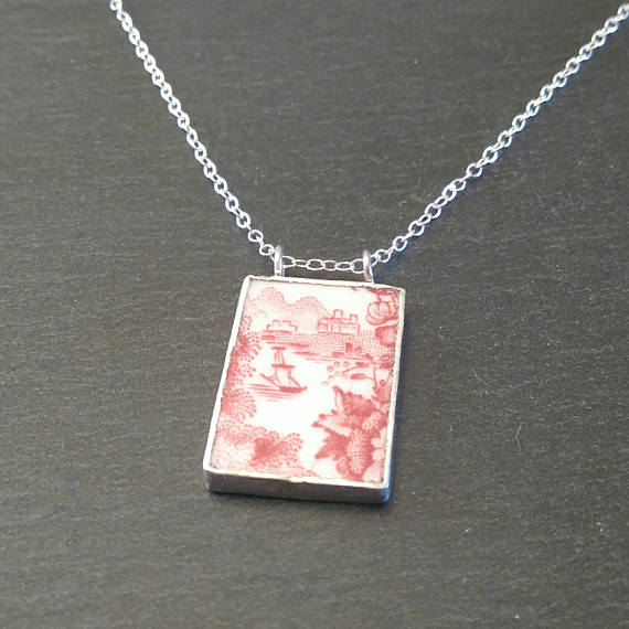 Red Plate Pendant Broken China Necklace