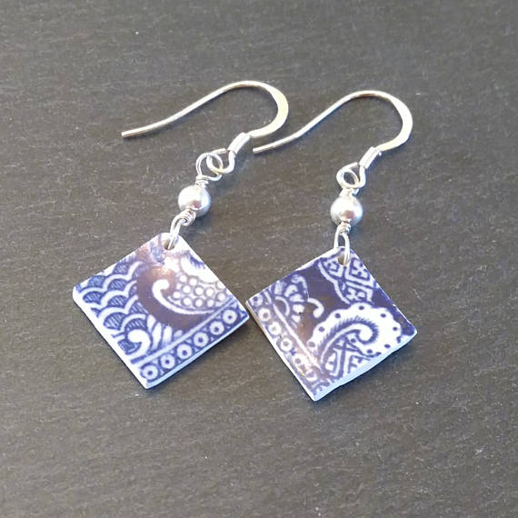 Blue Square Dangly China Earrings