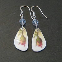 Rosebud Sterling Silver Drop China Earrings