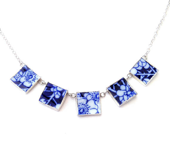 Blue Broken China Necklace