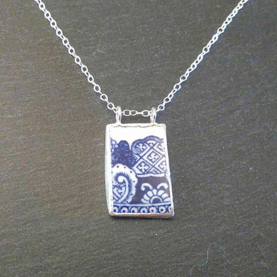 Blue Pendant Broken China Necklace