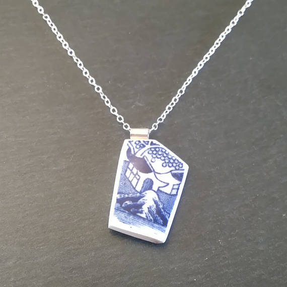 Blue Little House Broken China Pendant Necklace