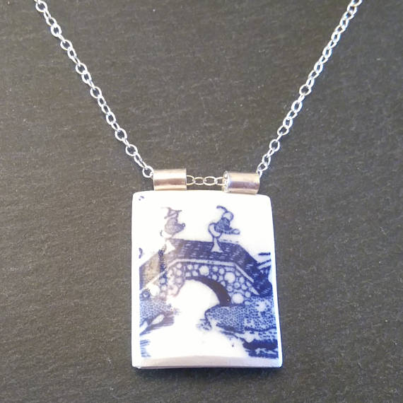 Little Guys on a Bridge Blue Broken China Pendant Necklace