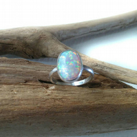 Synthetic Opal Sterling Silver Ring