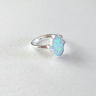 Opal Hamsa Hand of Fatima Sterling Silver Ring