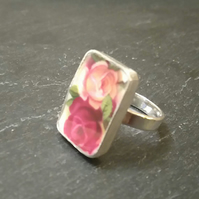 Old Country Roses Vintage Broken China Ring