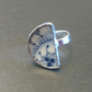 Unusual Vintage Blue Broken China Statement Ring