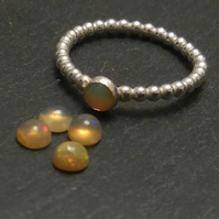 Genuine Opal Beaded Pinky Ring