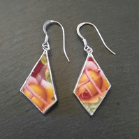 Quirky Colorful Broken China Dangly Earrings