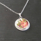 Yellow Rose Broken China Pendant Silver Necklace for Wife