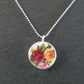 Rose Broken China Pendant Silver Necklace