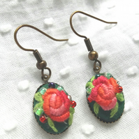 Hand Embroidered floral dangle earrings