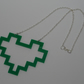Green retro pixel love heart statement necklace