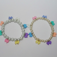 Set of two pearl bracelets with pastel bow charms, gift set, gifts for her.