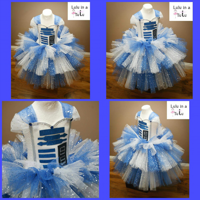 Droid Robot Space Inspired Tutu Dress to fit 2-3 years old