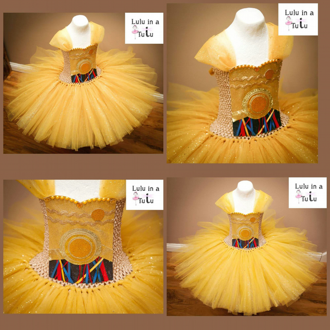 C3-PO Droid Robot Space Inspired Tutu Dress to fit 7-8 years old