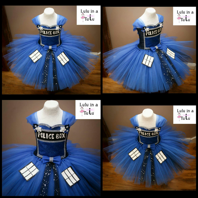 Dr Who Tardis Police Box Inspired Tutu Dress to fit 2-3 years old