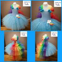 Little Pony Rainbow Dash Inspired Tutu Dress to fit 7-8 years old