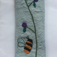 Bee bookmark with purple flowers