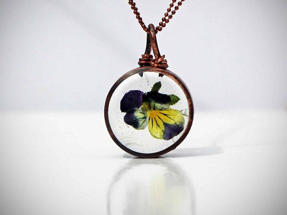 Handmade Pendant featuring a pressed Viola Trico flower