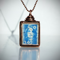 Handmade Pendant featuring a Vintage Postage Stamp from France 1989