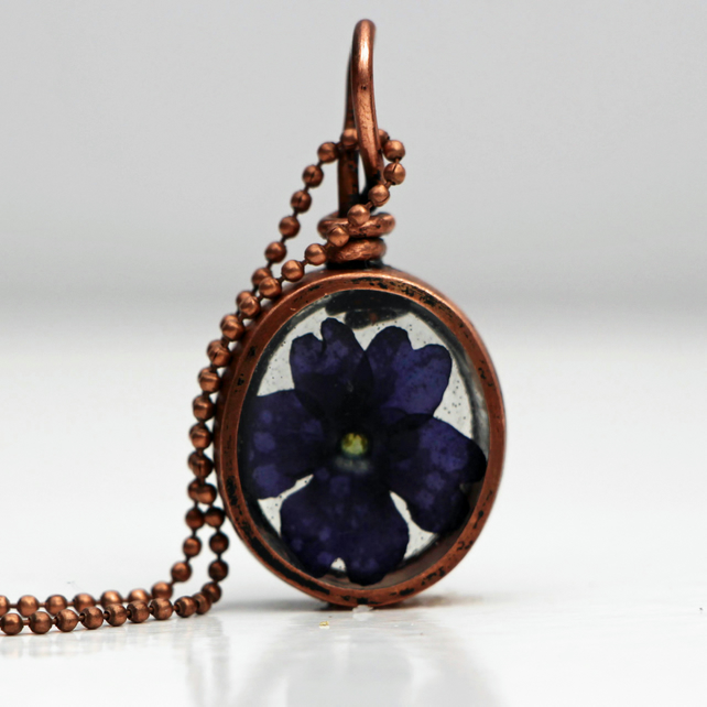 Handmade recycled copper pipe pendant featuring pressed deep purple Verbena
