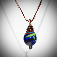 Handmade Torched Glass Copper Wire Wrap Pendant, Necklace, Teardrop