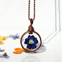 Handmade Copper Pipe Pendant featuring real flower pressed dark blue verbena
