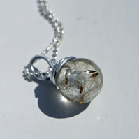 Handmade Orb Pendant with real Dandelion Seeds from Scotland