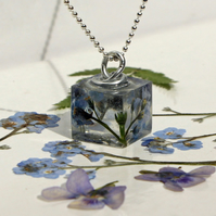 Handmade Cube Pendant with pressed Forget Me Nots from the Scottish Highlands