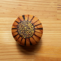 Pyrography wooden Daisy knobs - set of 6
