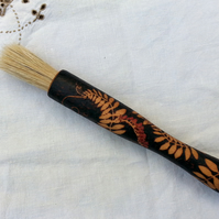 Pyrography pastry brush with wild flower design