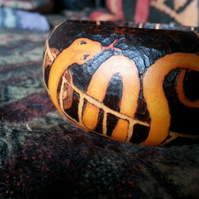 'Snakes & Ladders' pyrographed wooden bangle