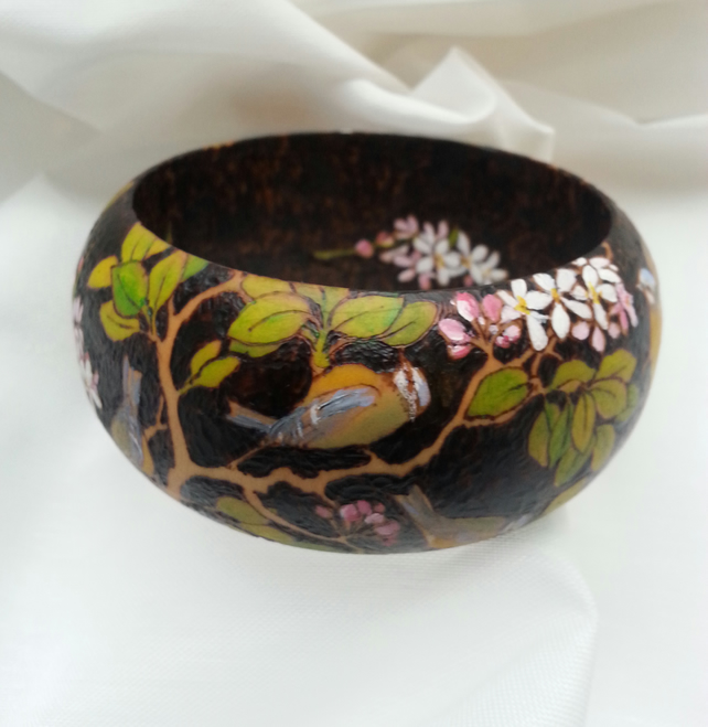 'Spring' - birds & blossom pyrography wooden bangle