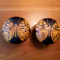 Butterfly (Silver-washed fritillary) pyrography wooden drawer knobs