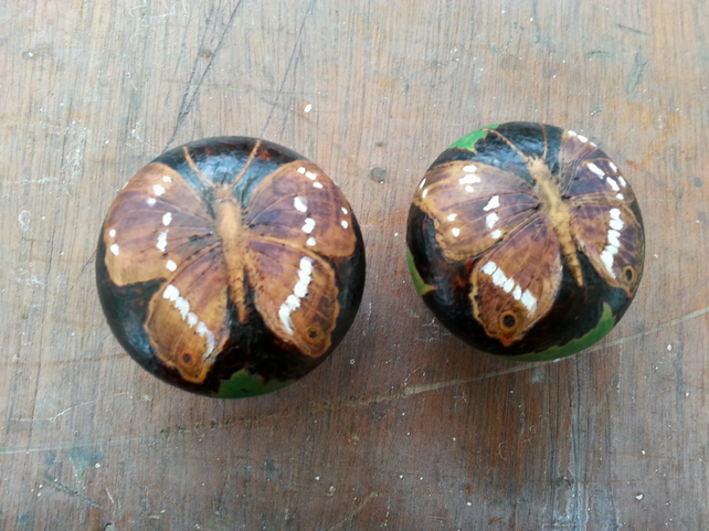 Butterfly (purple emperor) pyrography wooden drawer knobs (a set of 2)
