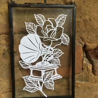 Gramophone papercut design in glass hanging frame