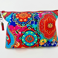 Canvas Wash bag,Boho, Indian, colourful travel bag, cosmetic bag, zip bag, make