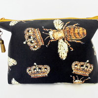 Canvas Wash bag, Black  bag, vintage bee species, travel bag, cosmetic bag