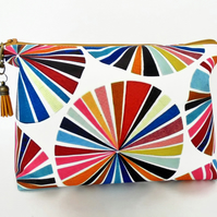 Canvas Wash bag,colour wheel, colourful travel bag, cosmetic bag, zip bag, make