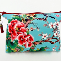 Canvas Wash bag, Cherry bloosom, chinoiserie, humming birds, travel bag, makeup