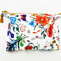 Canvas Wash bag, Floral makeup bag, floral travel bag, floral cosmetic bag