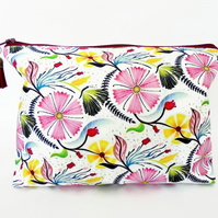 Canvas Wash bag, Floral toiletry bag, floral travel bag, floral wash bag.
